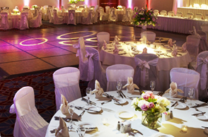 Ballroom decorated for wedding reception